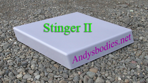 Stinger II bonnet scoop, has a return flange for easy instalation pre undercoated, lightweight construction, manufactured by Fibre-Form (NZ) Ltd for Andy's Bodies