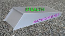Stealth bonnet scoop, has a return flange for easy instalation pre undercoated, lightweight construction, manufactured by Fibre-Form (NZ) Ltd for Andy's Bodies