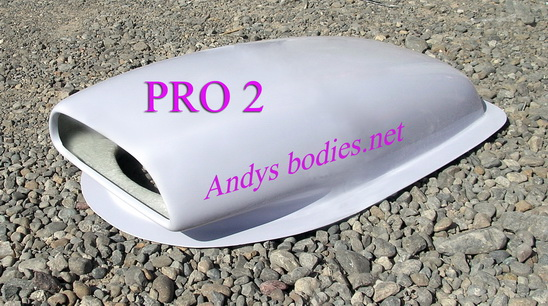 Pro 2 bonnet scoop, pre undercoated, lightweight construction, manufactured by Fibre-Form (NZ) Ltd for Andy's Bodies