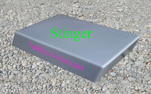 Stinger bonnet scoop, has a return flange for easy instalation pre undercoated, lightweight construction, manufactured by Fibre-Form (NZ) Ltd for Andy's Bodies